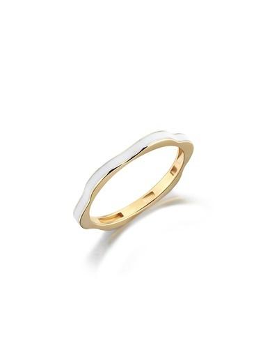Piano Jewellery Rhythm Beyaz Mineli Çiçek Altın Yüzük 14 Ayar Altın
